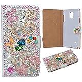 EVTECH(TM) pour [Samsung Galaxy Note 3] Floral Crown Bling Crystal Glitter Style Book Folio Pu Housse en cuir avec support sac à main de téléphone et cartes Slots