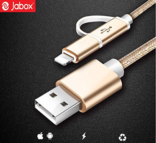 2 in 1 Micro USB Cable for Samsung Lenovo Xiaomi Lg Moto and all other micro enabled phone with Lightning Adapter for iPhone, iPad & Android (Pack of 1 Cable)- By Jabox , 3 Month Warranty