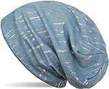 styleBREAKER Beanie Mütze mit Metallic Streifen, Slouch Longbeanie, Unisex 04024120, Farbe:Blau