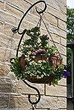 Garten bietet Ideen Hängekorb Klammern, Dekorative Pflanze Kleiderbügel, Schwarz, Heavy Duty, Doppel Aufhänger für Blumen Korb, Hanging Basket, Wandhalterung, Pulver, Rost Frei