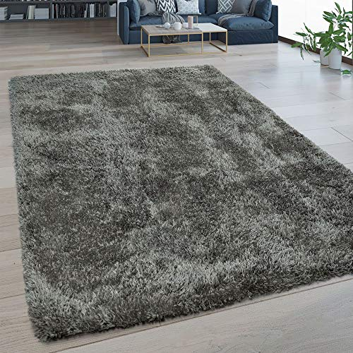 Paco Home Hochflor Wohnzimmer Teppich Waschbar Shaggy Flokati Optik Einfarbig In Grau, Grösse:120x160 cm