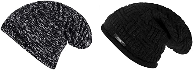 Noise Combo of Black-White Textured and Black Cross Knitted Winter Beanie Cap