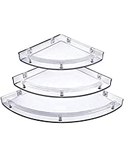 Yo India Corner Shelves Super Clear/Crystal Corner Shelf for Bathroom/Corner Shelf for Home Decor - One Set (3 Pieces)