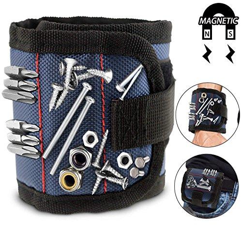 WisFox Magnetische Armbänder mit 10 leistungsstarken Magneten Magnet Armbänder verstellbares Klettband für Holding Werkzeuge, Schrauben, Nägel, Schrauben, Dübel, Bohrungen, kleine Werkzeuge, Schr