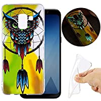 Samsung Galaxy A8 2018 Luminous Case,Samsung Galaxy A8 2018 Effect Green Night Glow In The Dark Silicone TPU Transparent Soft Case Flexible Ultra Slim Thin Lightweight Gel Bumper Shockproof Protection Cover Shockproof Anti-Scratch Protective Phone Case fo