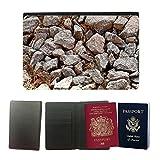 PU Pass Passetui Halter Hülle Schutz // M00155809 Steine ??Pebble Baustoffs Fluss // Universal passport leather cover