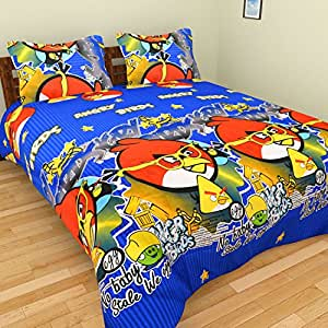 Tanvi'S 3D Angry Bird Cartoon Printed Double Bedsheet With 2 Pillow Covers