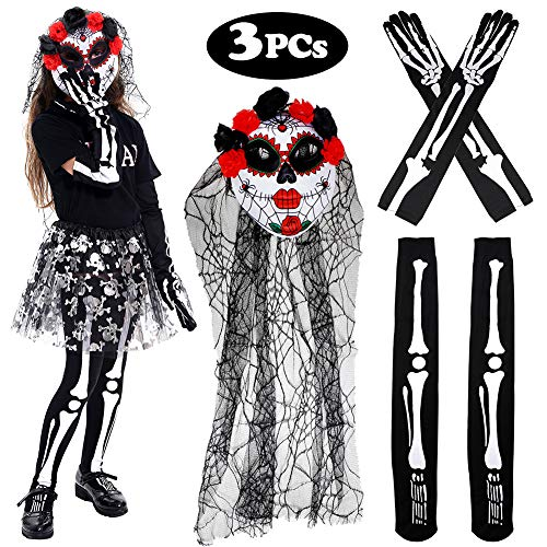 (Tacobear Halloween Kostüm Damen Gesichtsmaske mit Schleier Skelett Handschuhe Skelett Strümpfe Damen Tag Der Toten Kostüm Karneval Fasching (Rot))