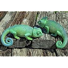 Juego de 2 Camaleones Figuras Decorativas de Jardín Exteriores de Resina Sintética En Verde 16cm