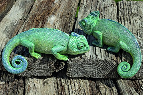 Set of 2 Chameleons Garden Decorative Figures Synthetic Resin Exteriors in Green 16cm