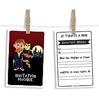 6 cartes et enveloppes invitation anniversaire | Anniversaire fille ou garçon | Thème Sorcier ou magicien inspiré de…