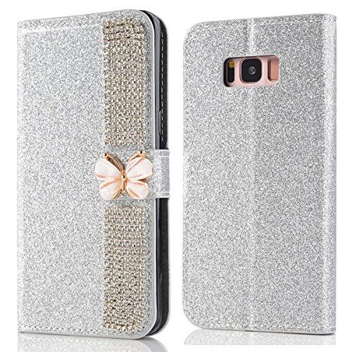Samsung Galaxy S8 Funda Lujo Brillante Sparkling Glitter Cover 3D Bling Diamante Case Cover PU Cuero Shell con Flip Stand Case e Cierre Magnético Shockproof Cover Plata