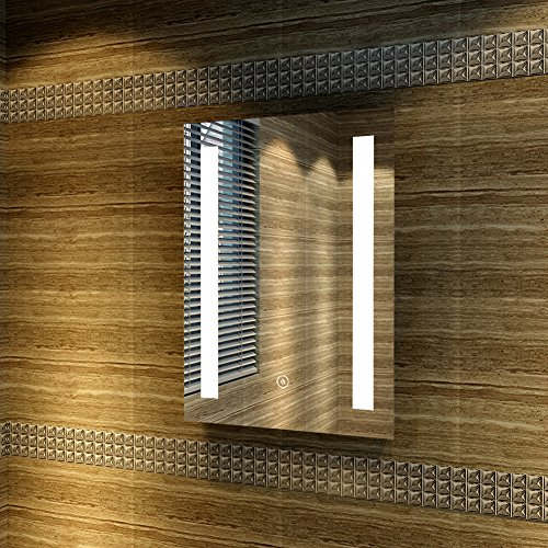 Badspiegel eckig mit LED-Beleuchtung