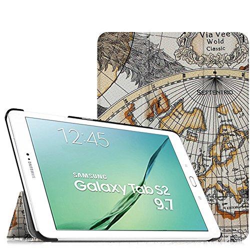 Fintie Samsung Galaxy Tab S2 9.7 Hülle Case - Ultra Schlank Superleicht Ständer SlimShell Cover Schutzhülle Tasche mit Auto Schlaf / Wach Funktion für Samsung Galaxy Tab S2 T810N / T815N / T813N / T819N 24,6 cm (9,7 Zoll) Tablet-PC, Landkarte Design