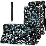 Slynmax Leder Tasche Schutzhülle für Samsung Galaxy S3 I9300 Hülle Flip Wallet Case PU Leather Hand Strap Ledertasche Handyhülle Klapphülle Stand Karten Slot(Skullhead,Schwarz)