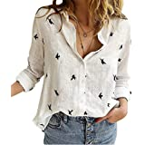 Onsoyours Camicia Donna Elegante Manica Lunga Primavera Estive Bottoni Chiffon Bluse Elegantei Casual Stampa Taglie Forti Top