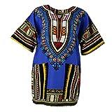 Sharplace Damen Kurzarm Sommer Traditionelle Afrikanische Kleider Afrika Style Minikleid Dashiki Cocktailkleid - Königsblau, wie beschrieben