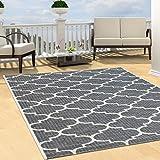 Teppich Flachflor Modern Outdoor fest Geknüpft Outside verschiedene Designs NEU, Größe in cm:120 x 170 cm;Sunset:Gitter-Grau
