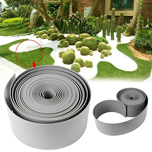 Forever Speed PE Rouleau lisse bord de pelouse plastique Bordure de gazon Limitation bordures de jardin 25mx10cm gris