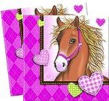 Party-Servietten Pferde/Ponys - Geburtstags-Feier Mädchen/Motto-Party Pferde/Picknick/Sommer-Party/Garten-Party/Grill-Fest/Deko Kinder-Geburtstag Mädchen (40 Servietten)