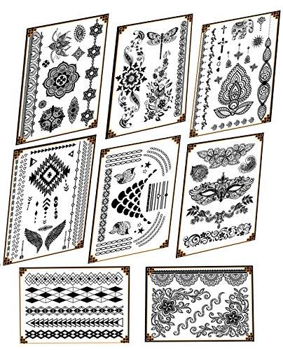 8 Blätter Halskette Armband Tattoo Körper Art Aufkleber für Hochzeit Party Dating (Typ 2)