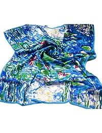 Prettystern P773 - 90cm 90cm carré en pure soie Foulard Echarpe - Claude Monet - Nymphea / Water Lilies