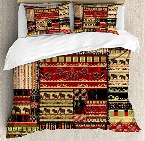 Afrikanische 3 Stück Bettwäsche Bettbezug Set, Patchwork-Stil asiatischen Muster mit Elefanten und kulturellen alten Motiven drucken, 3 Stück Tröster / Qulit Cover Set mit 2 Kissenbezügen, rot, grün, -