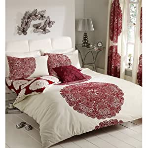 MANHATTEN PRINTED REVERSIBLE DOUBLE BED DUVET COVER QUILT BEDDING LINEN SET RED
