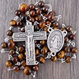 Silver Florentine Rosary with Tiger's Eye gemstones, includes Gift Box