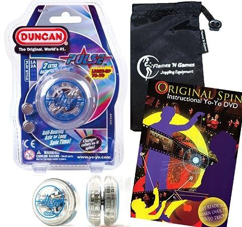 Duncan PULSE LED YoYo (Bleu) Pro String Trick Lumineux Yo Yo (BATTERIES INCLUS!) + Original Spin YoYo Tricks DVD (75 Trucs pour apprendre, en anglais) + Sac de Voyage! Pro Yo-Yo pour les enfants et les adultes!
