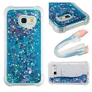 Lomogo Samsung Galaxy A3 2017 / A320 Hülle Silikon Glitzer Flüssig, Schutzhülle Stoßfest Kratzfest Handyhülle Case für Samsung Galaxy A3 (2017) – LOYBO36849 Blau