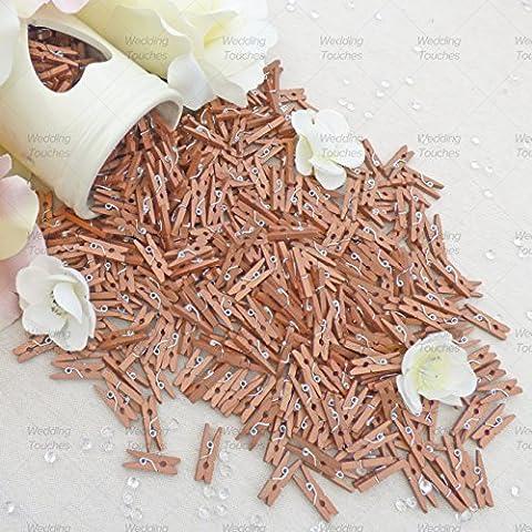 25mm Mini Bronce Madera Pinzas para la ropa craft para decoración álbum de recortes Vintage, bodas y