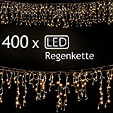SSITG 400 LED Lichterkette Weihnachten Regenkette Lichtervorhang Eisregen Beleuchtung Deko