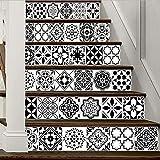 YFXGSTLI Schwarz Und Weiß Stil Arabien Fliesen Treppen Dekoration 3D Aufkleber Kunst Pegatinas De Pared Wohnkultur Mur 6 Teile/Satz 18 cm X 100 cm
