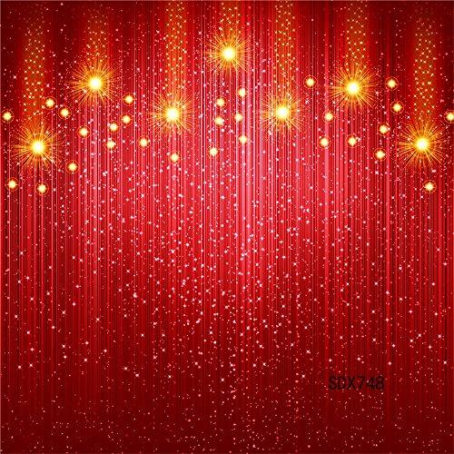 LB Vinyl rote Purdah und Licht Backdrops 7X7ft / 210x210cm Fotografie Hintergründe für Studio / Professionelle Fotografie und Foto Requisiten Dekoration für Paty / Bühne (Requisiten Eigene Halloween)