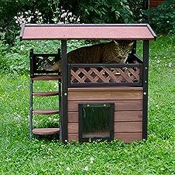 Casa de madera de exterior para gato