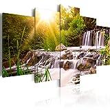 murando - Bilder 200x100 cm - Vlies Leinwandbild - 5 Teilig - Kunstdruck - Modern - Wandbilder XXL - Wanddekoration - Design - Wand Bild - Natur Landschaft Wasserfall Grün Bäume c-C-0026-b-n