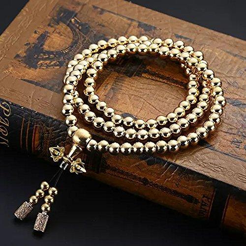 WEREWOLVES Selbstverteidigung Edelstahl Halskette/Messing Halskette Chain108 Buddha Perlen Auto Dekoration Anhänger Selbstverteidigung Armband Whip (Messing Stil-A)