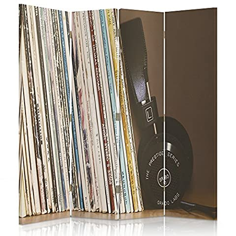 Feeby Frames Canvas Screen, Decorative Room Divider, Paravent, Double sided, 360°, 4 panels (145x150 cm) HEADPHONES, VINYL RECORDS, MUSIC, BLACK, BROWN