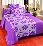 Super India 110 TC Cotton Double Bedsheet with 2 Pillow Covers - Floral, Purple