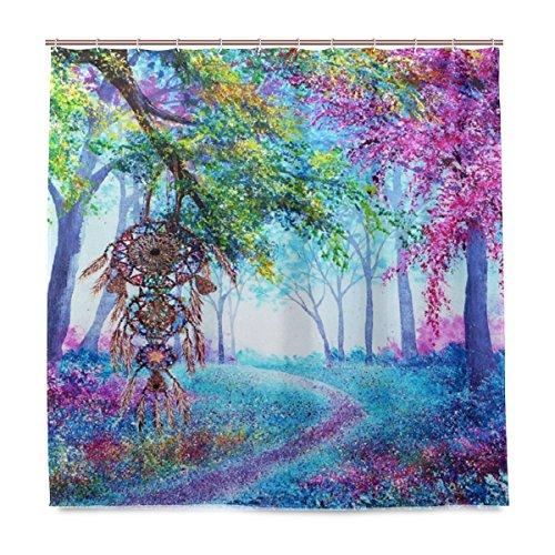 ISAOA Impresión Digital Impermeable y a prueba de moho de cortina de ducha con 12 ganchos tamaño 180 × 180 (72 × 72 pulgadas) atrapasueños Flores bosque cortinas decoración para madera baño