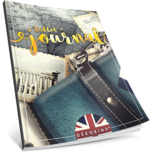 Dékokind® Bullet Journal: Ca. A4-Format • 100 Seiten, Punktraster Notizbuch mit Register • Dot Grid Notebook, Punktkariertes Papier, Skizzenbuch • ArtNr. 04 Fernweh • Vintage Softcover -