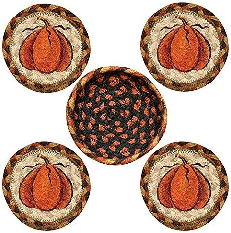 Earth Rugs 29-CB222HP Harvest Pumpkin Design Round Jute Basket with