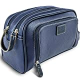 Vetelli Gio Leather Toilet / Wash Bag for Men - Handmade Toiletry Bag for Traveling Vacations and Adventures