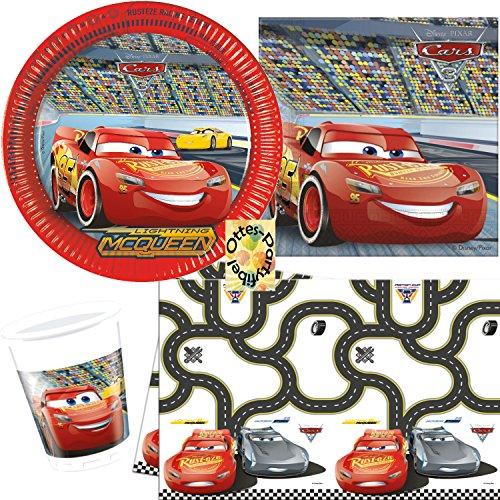 HHO Cars Partyset 54 Teile für 16 Personen Teller Becher Servietten 2 Tischdecken