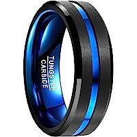 NUNCAD Ring Herren/Damen Wolframcarbid Außenbreite 8mm bequem, Men Fashion Schmuck Ehering Verlobungsring…