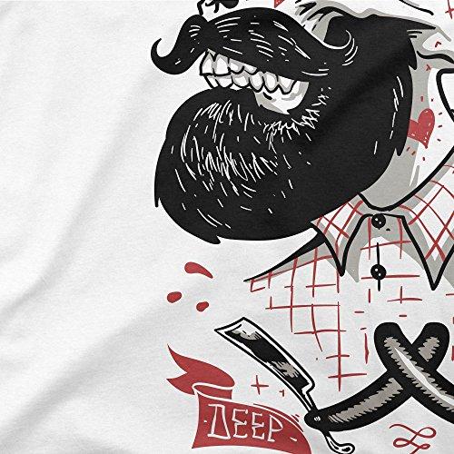 PAPAYANA - DEEP-CUTS - Herren T-Shirt - HIPSTER SKULL FACE BEART BARBER DOPE Weiß