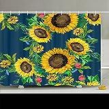 alliucoo Custom Dusche Vorhänge nahtlos Watercolor Sonnenblumen Big klein Texturen Sunflower Nature Badezimmer Bad Vorhang Polyester-Personalisierte-Wasserdicht Schimmelresistent Kolonialstil 96Wx72L violett