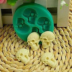 Bruselas08 - Molde de silicona con diseño de calavera en 3D para fondant y pasteles, para repostería, repostería, horneado, cubitos de hielo, para Halloween, fiestas, etc. multicolor
