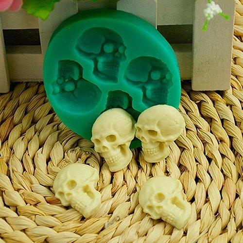 quanjucheer 3D-Totenkopf-Form aus Silikon für Fondant, Kuchen, Schokolade, Halloween Party, Werkzeug zum Selbermachen von Cupcakes, Brot, Muffins, Pudding., grün, 6.5cm x 5.8cm x 1.1cm